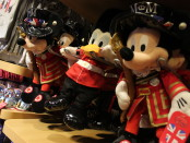 Mickey and Donald in a London costume.