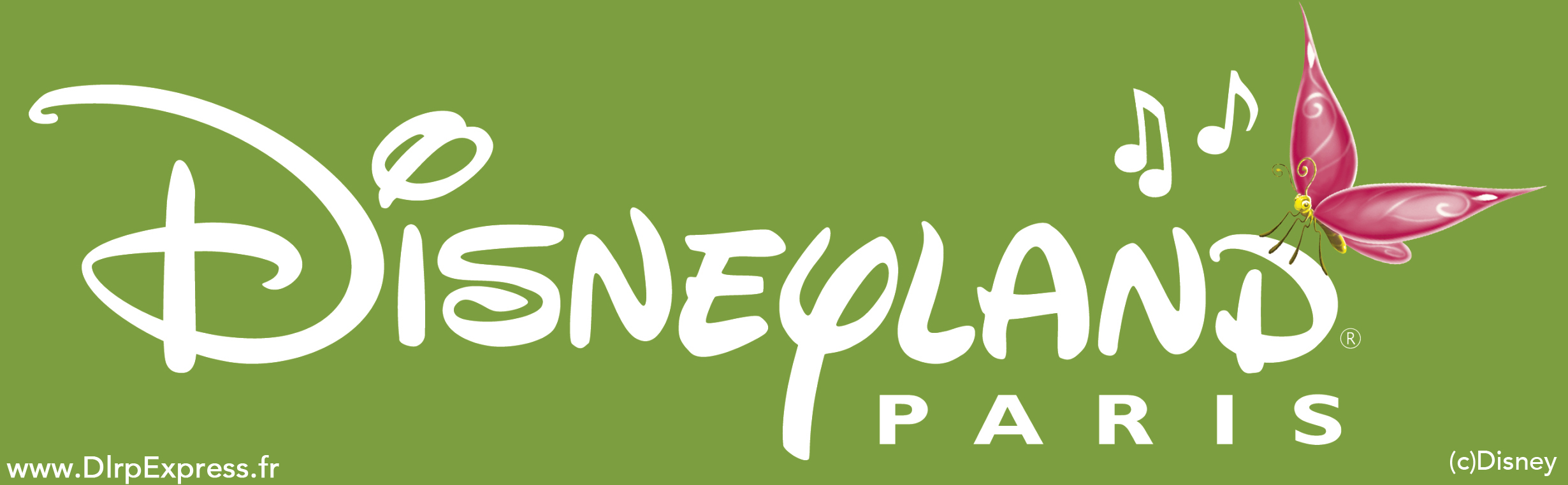 Green Disneyland Paris logo with butterfly. Spring 2014