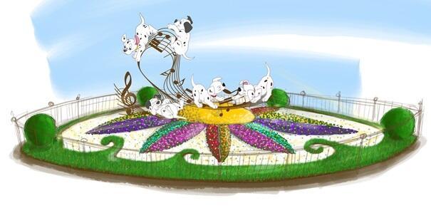 Dalmatians jump around a spring garden