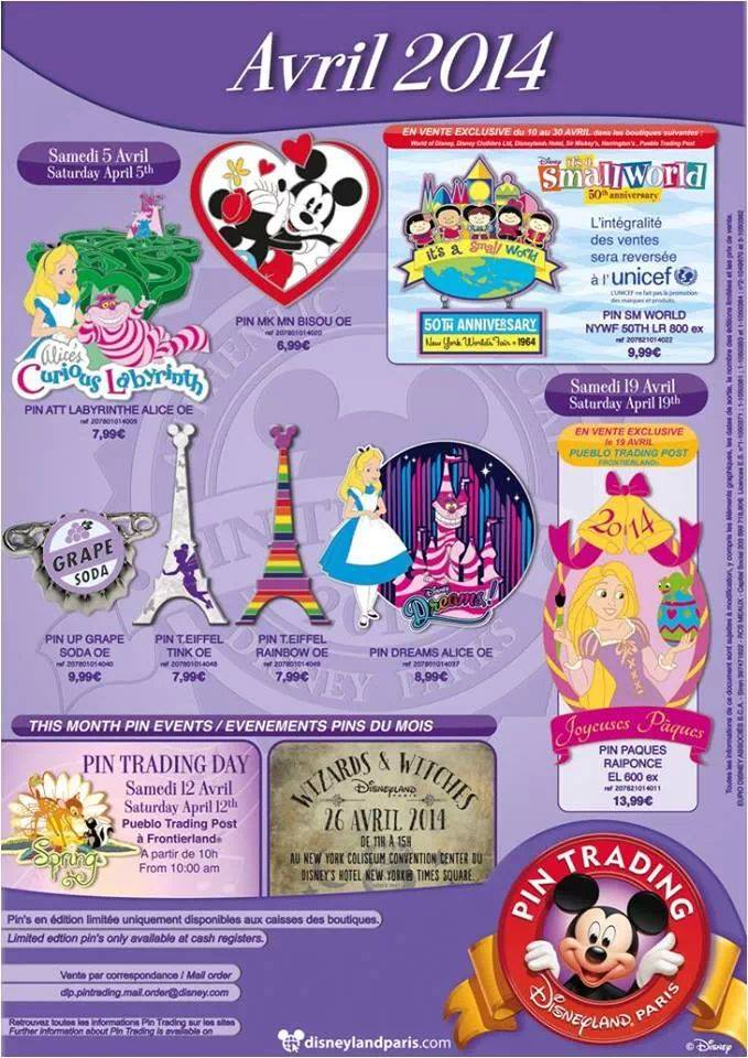 Pin releases for April 2014 in Disneyland Paris