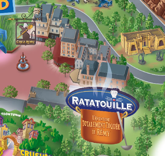 Map of Walt Disney Studios zoomed in on Ratatouille