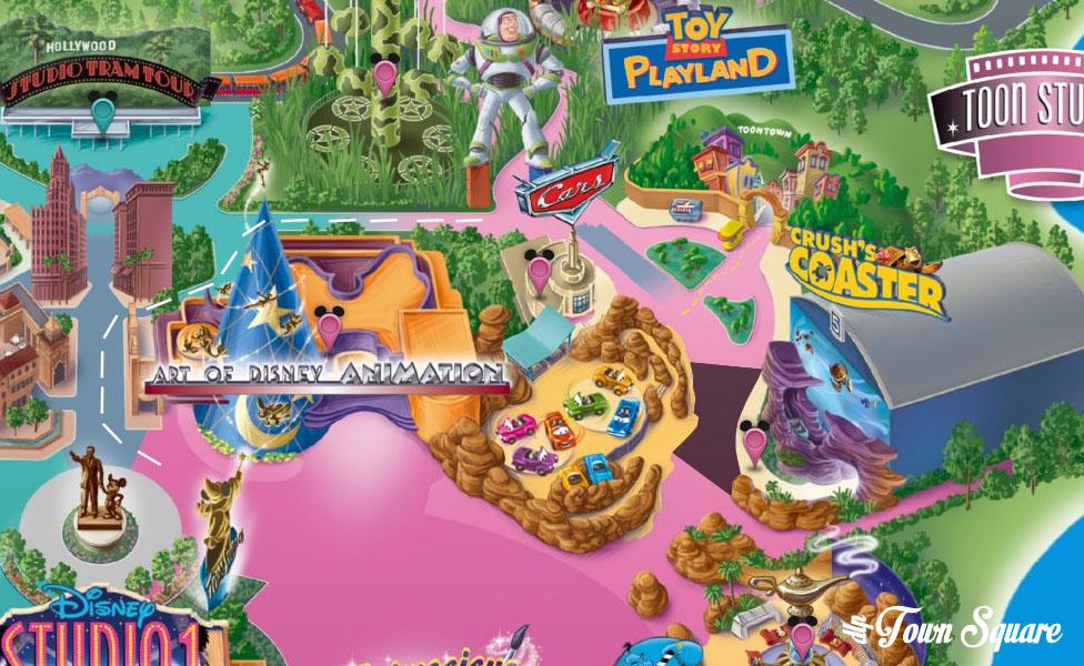 Map of circulation in Walt Disney Studios during the crush refurb.