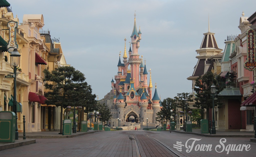 An empty Main Street USA in Disneyland Paris