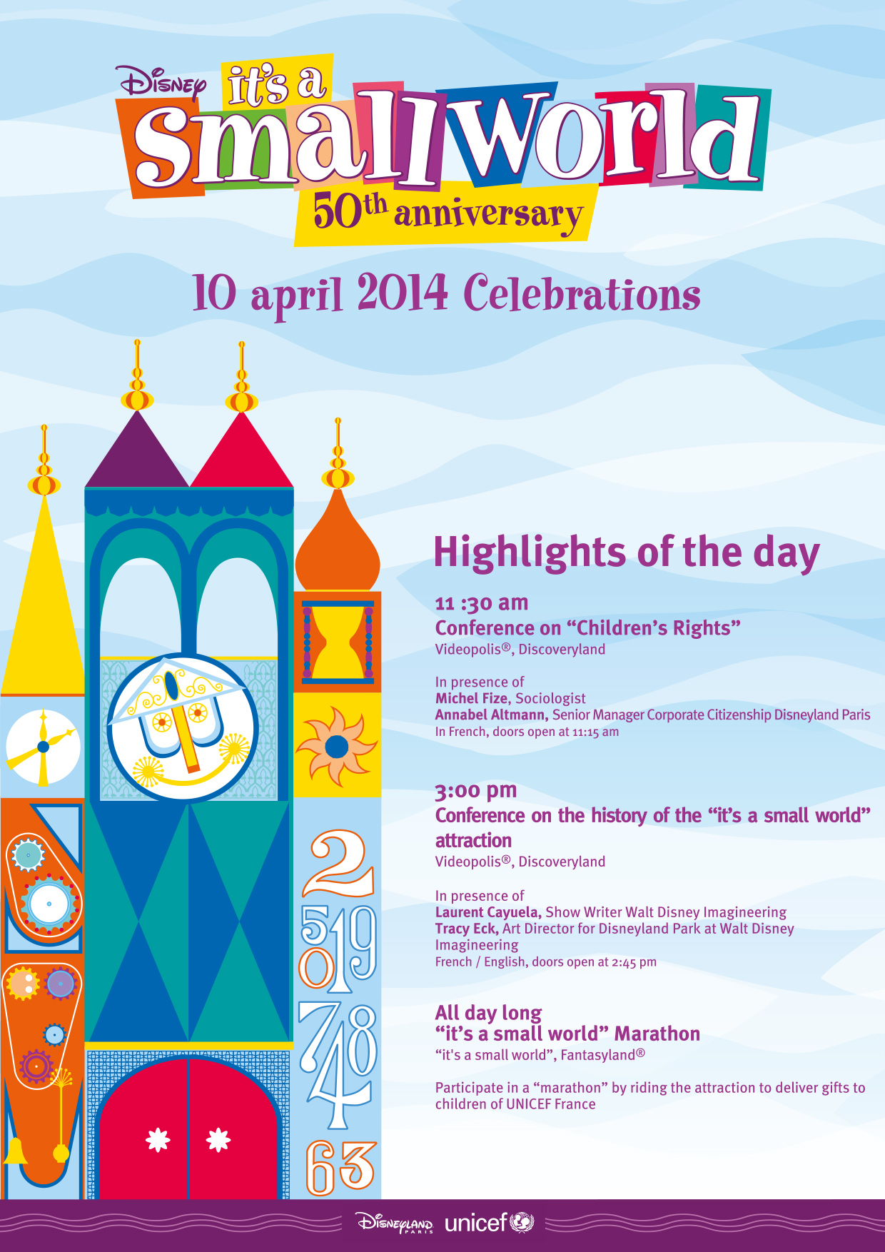 It's a Small World 50th Anniversary agenda - Disneyland Paris