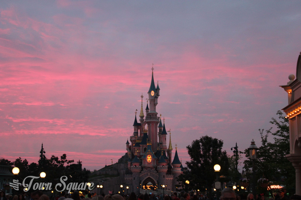 Disneyland Paris castle at sunset