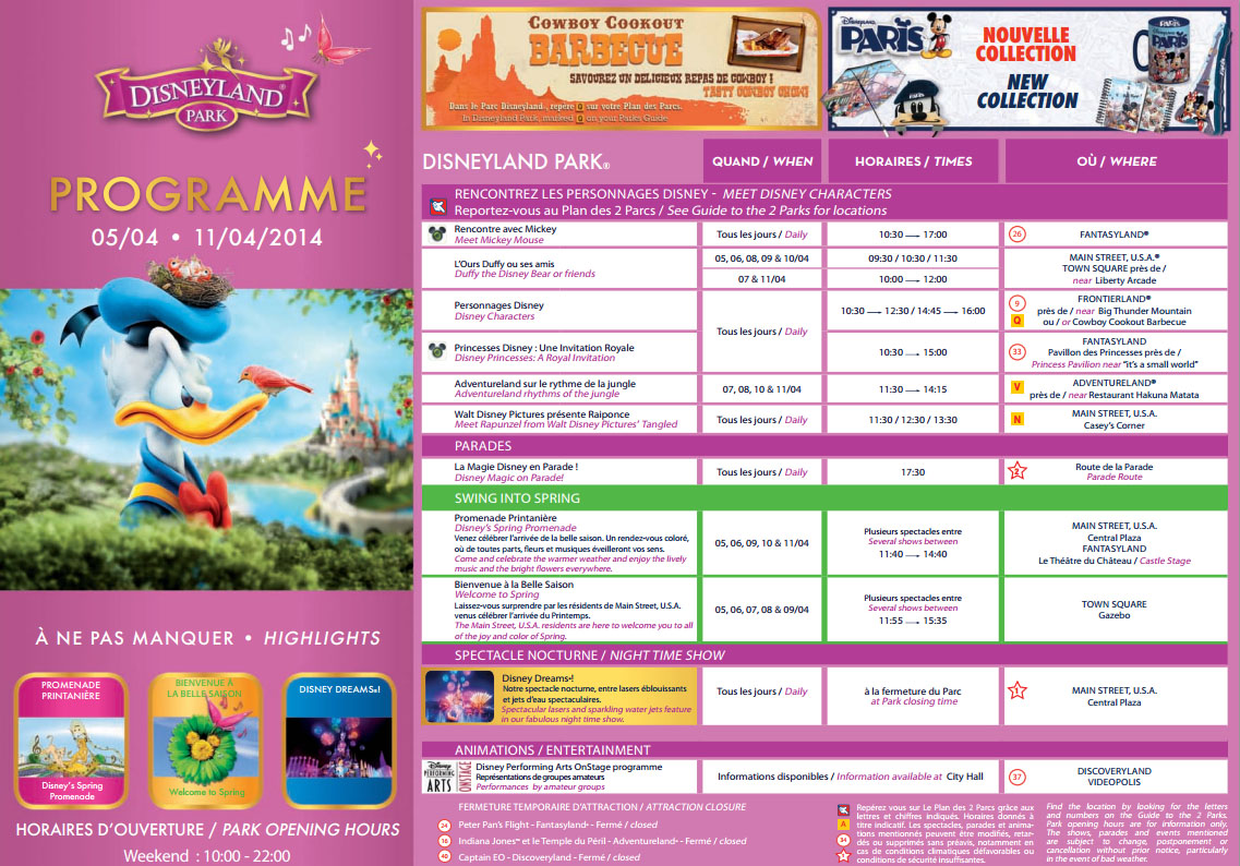Disneyland Paris Programme 5-11 April 2013: Spring