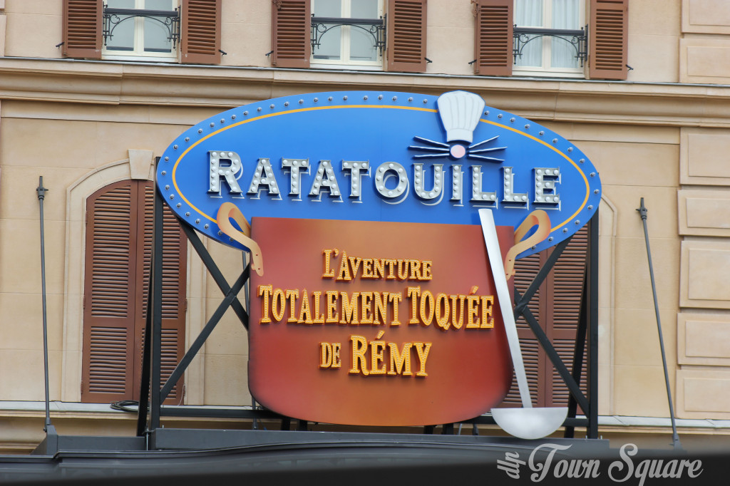 The large entry sign over the new Ratatouille attraction in Disneyland Paris