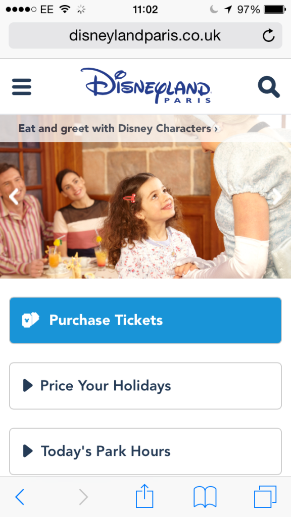New Disneyland Paris Mobile Website