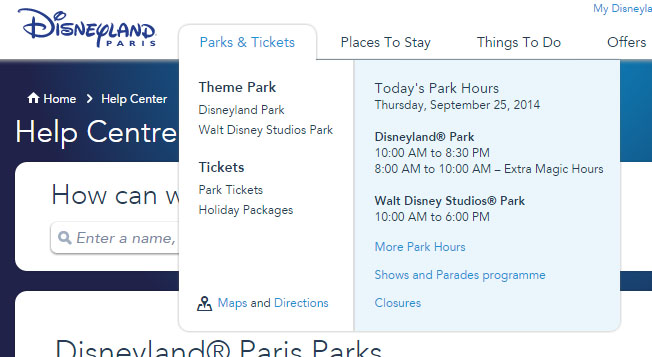 New Disneyland Paris Website, Park Hours