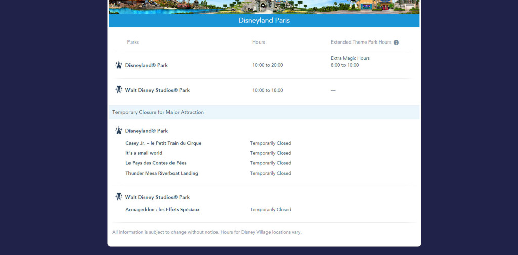 Disneyland Paris Closures