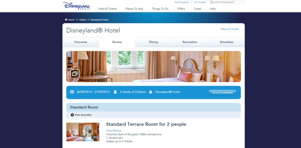 New Disneyland Paris website Hotel Page