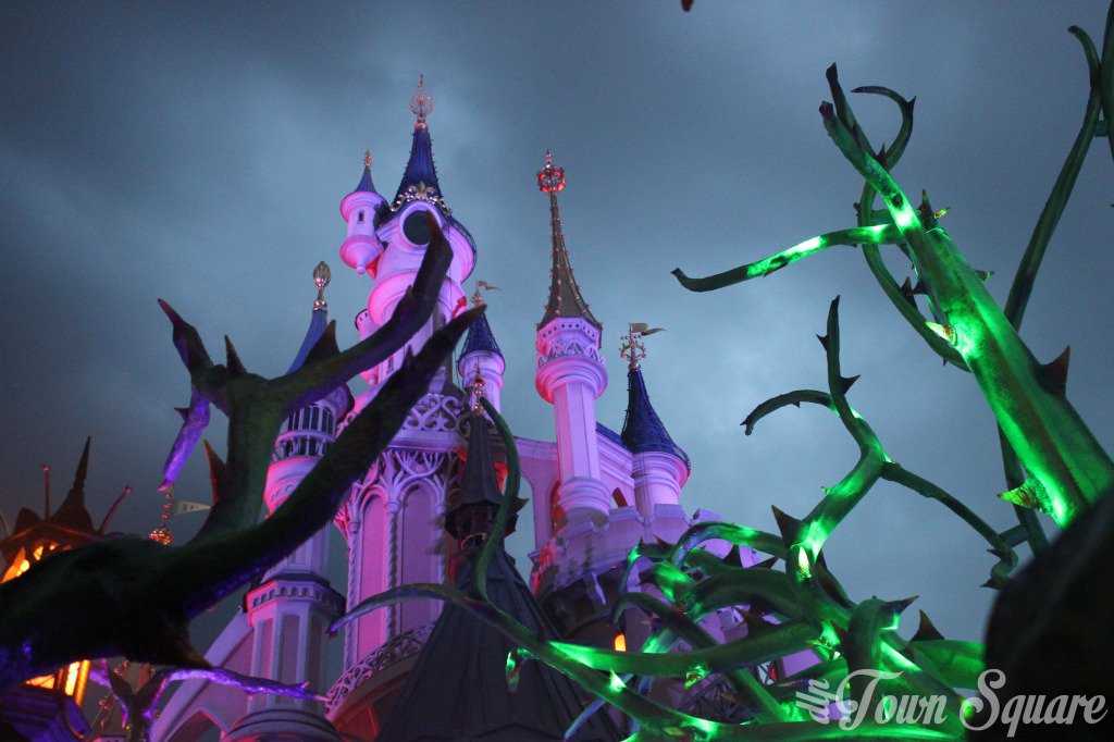 Halloween Maleficent's Court at night Disneyland Paris