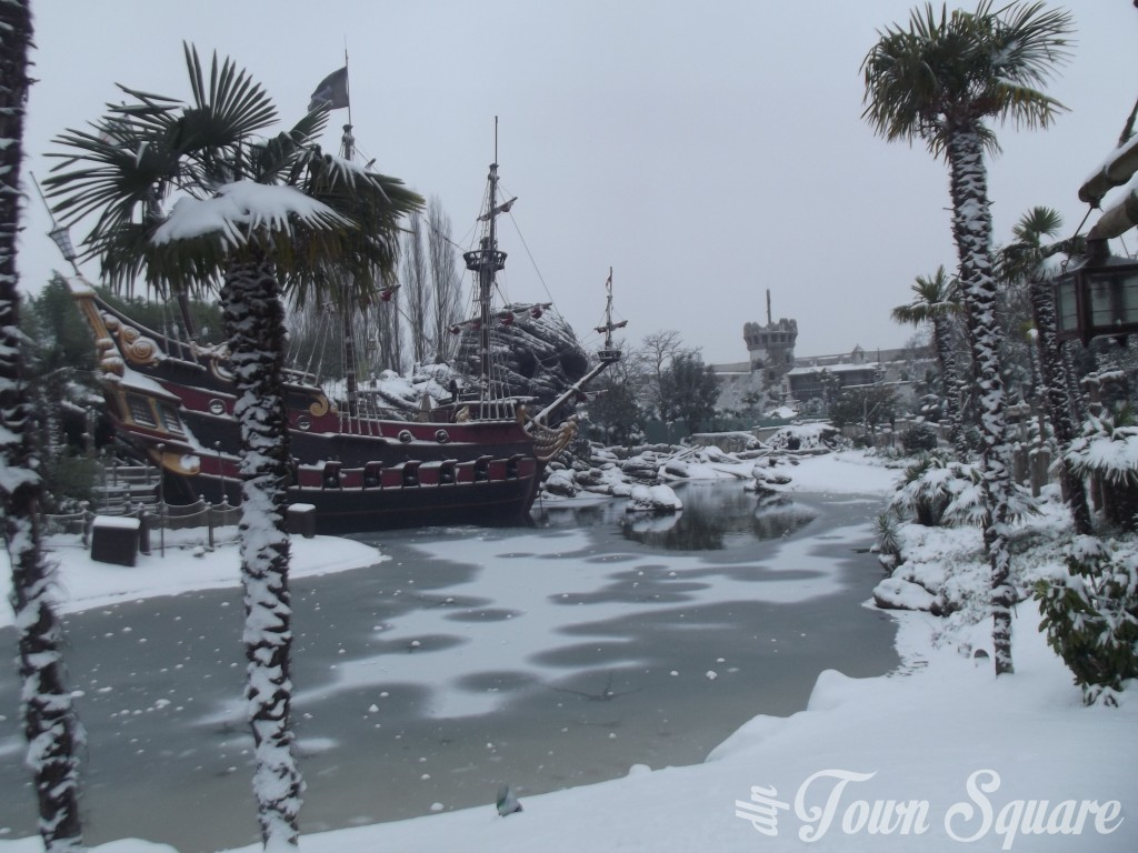 Adventureland at Disneyland Paris in the snow
