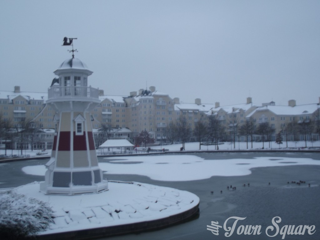 Hotel Newport Bay Club at Disneyland Paris in the snow