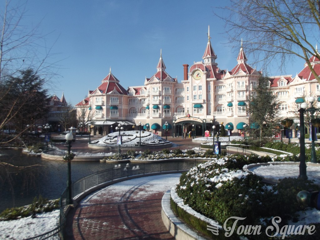 Disneyland Hotel in the snow