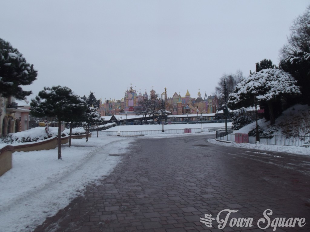 Fantasyland at Disneyland Paris in the snow
