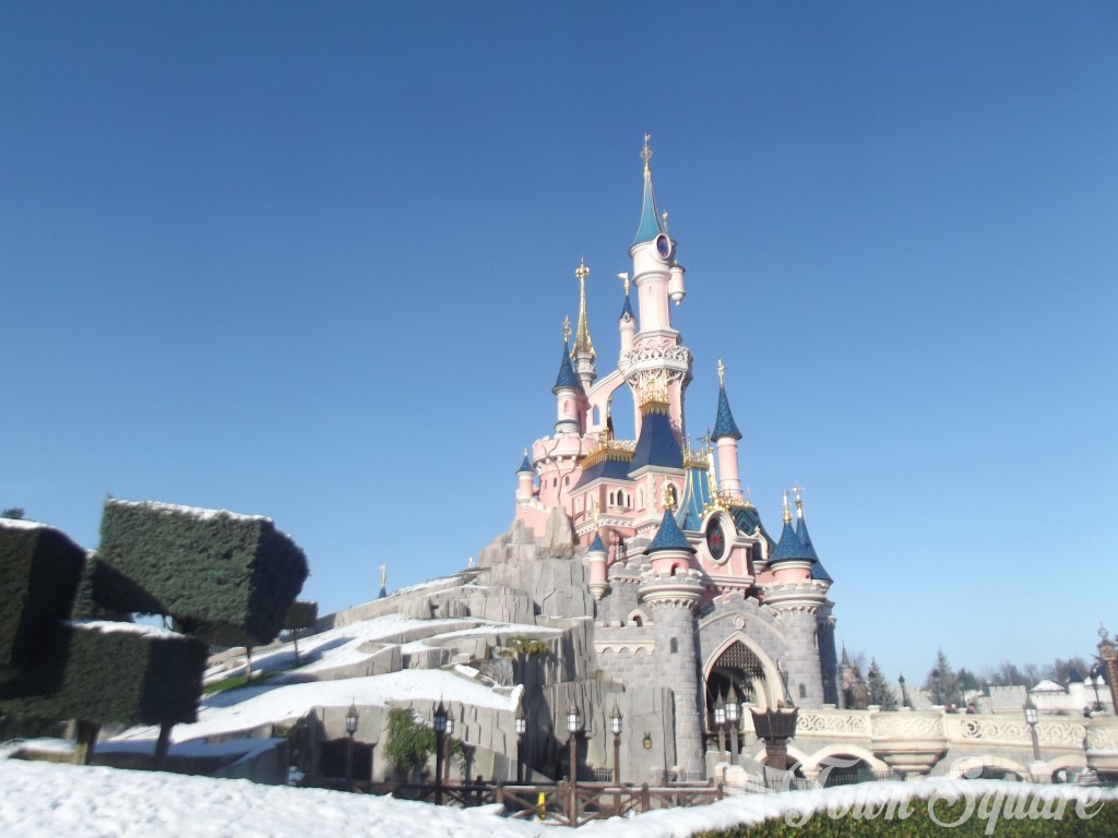 Sleeping Beauty Castle at Disneyland Paris in the snow