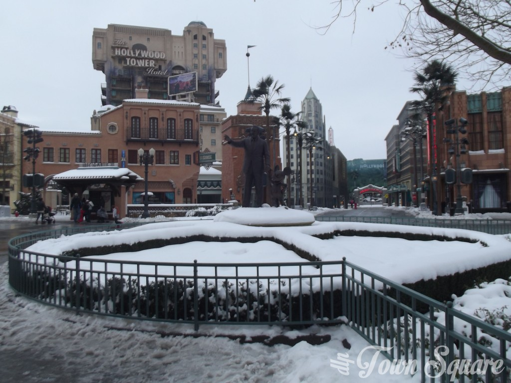 Walt Disney Studios at Disneyland Paris in the snow