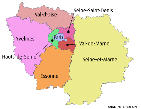 A map of the Ile-de-France region