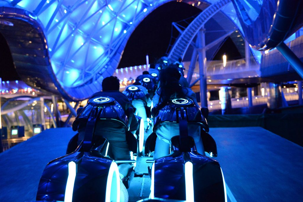 "The inspiring story of the Disney films ""TRON"" and ""TRON: Legacy"" become reality with the world premiere of TRON Lightcycle Power Run, a thrilling attraction in Tomorrowland at Shanghai Disneyland. Riding atop individual, two-wheeled Lightcycles, guests are launched into a mysterious game world of lights, projection and sound effects. (Amy Smith, photographer)"