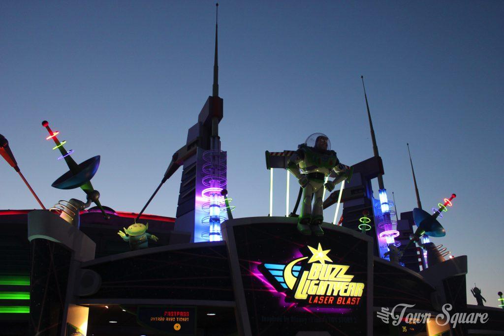 Buzzlightyear Lazer Blast at Disneyland Paris at dusk
