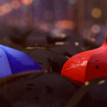 Blue Umbrella visual featuring a blue and red umbrella.