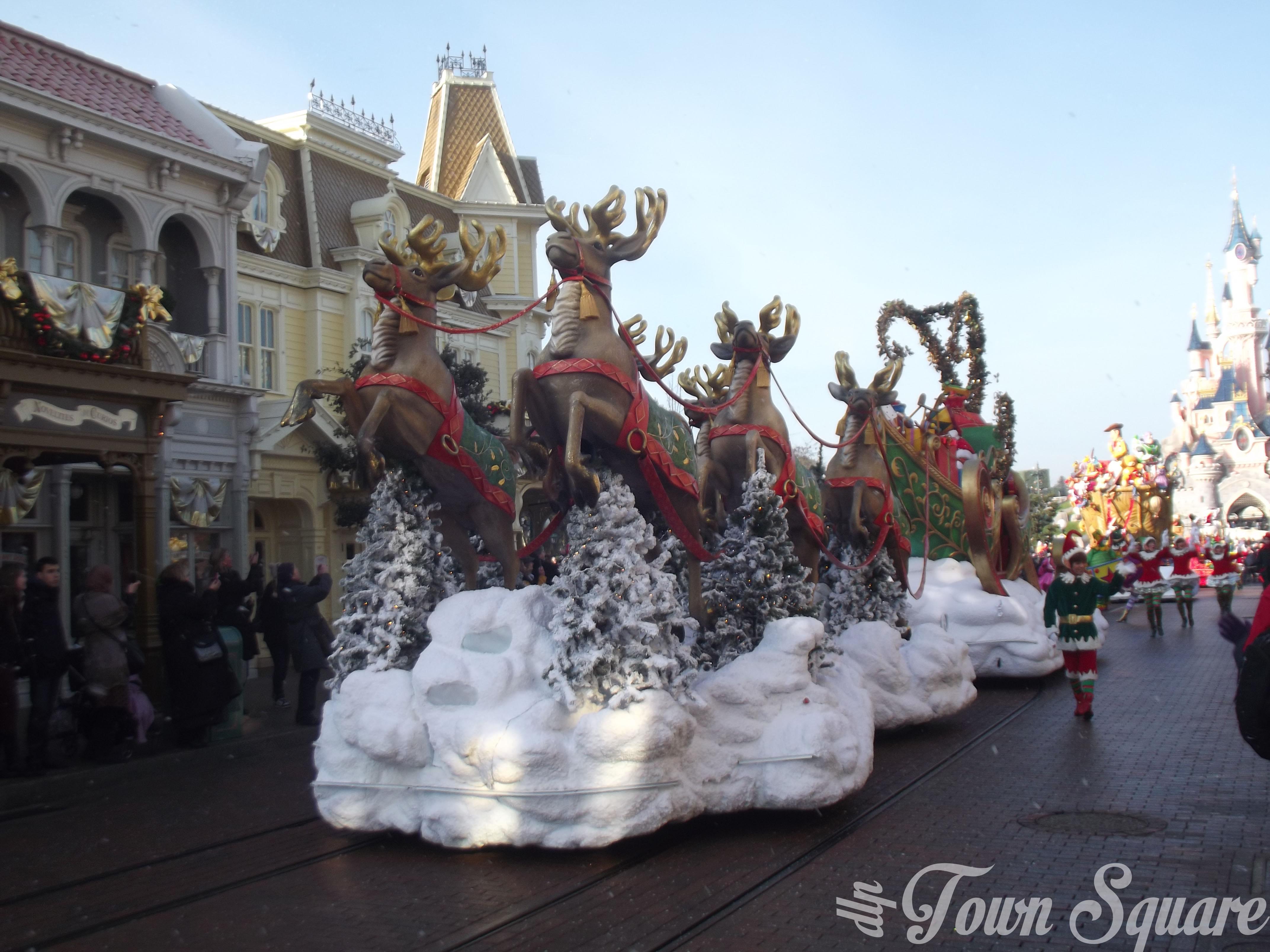 Reindeer pulling Santa's sleigh in the Christmas Cavalcade