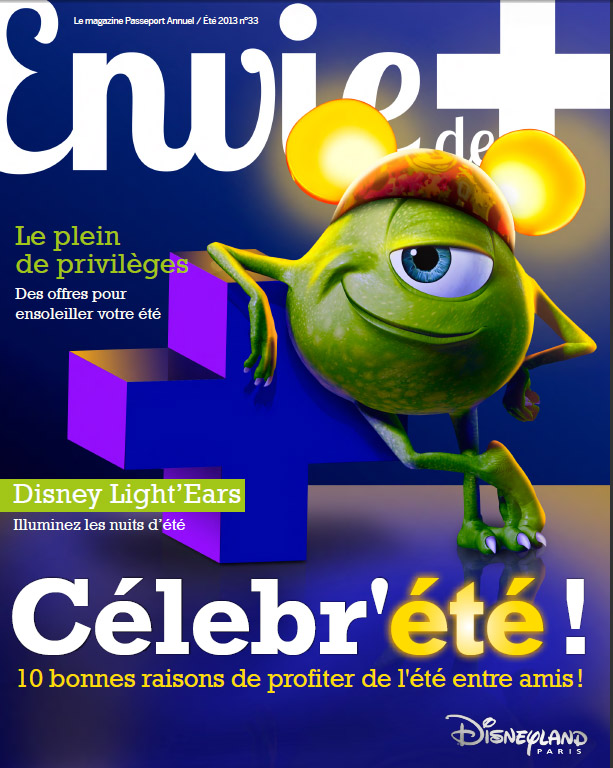 Magazine cover with Mike (Monsters Inc.) wearning Light'Ears