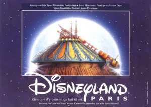 Graphical representation of Space Mountain with the Disneyland Paris logo beneath