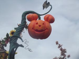 A mickey shaped pumpkin on a vine