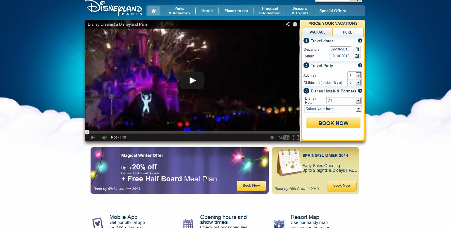 Disneyland Paris website screenshot