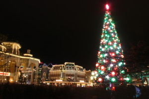 Christmas tree in town square lit up.