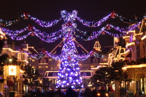 Night on Main Street with the Christmas tree and garlands illuminated
