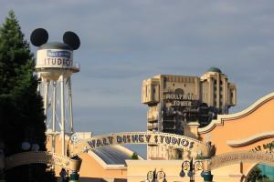Walt Disney Studios park in the distance. Earful Tower, Tower of Terror and Disney Studio 1