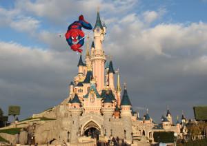 Spider-Man on Disneyland Paris' castle