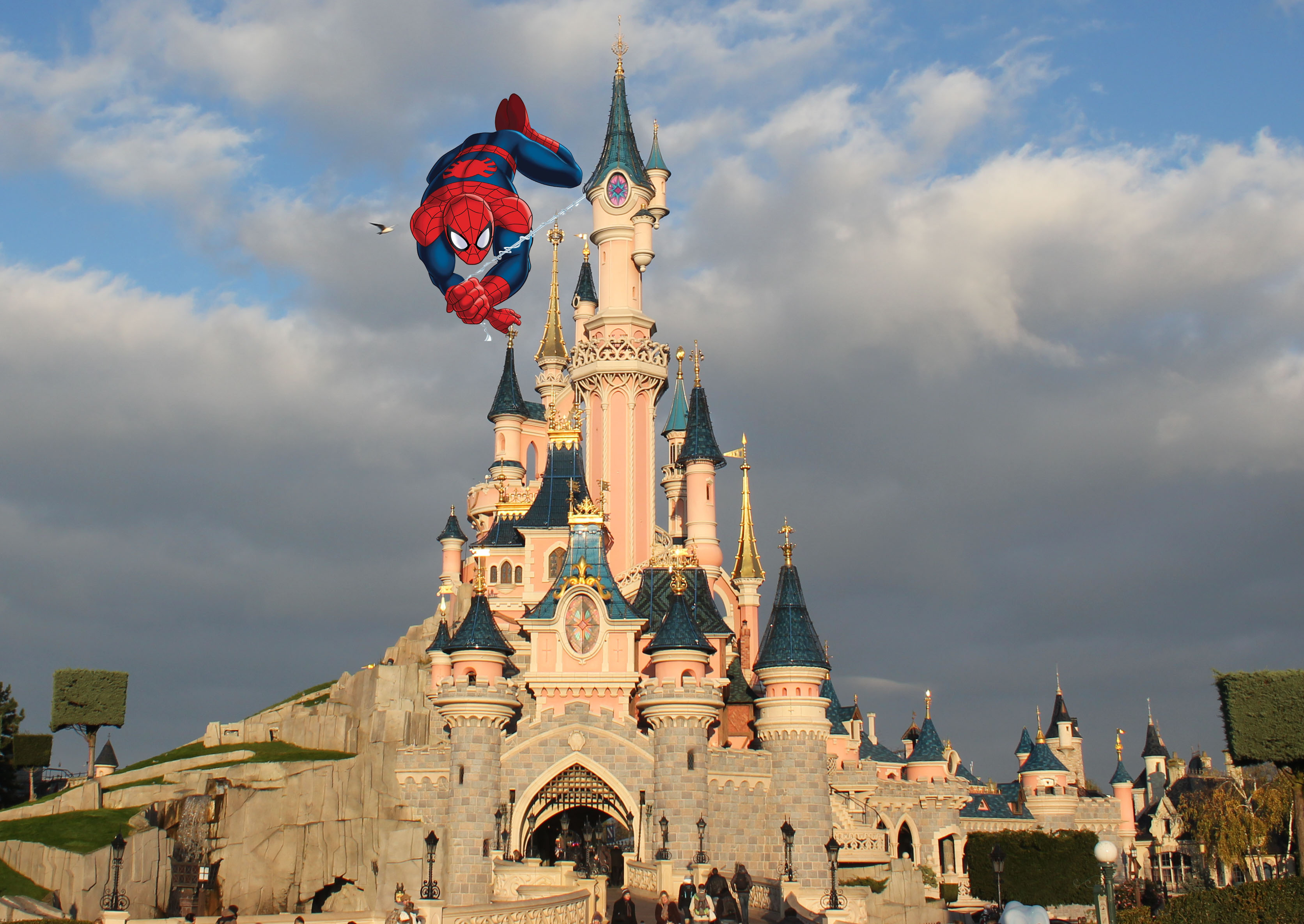 Spider-Man on Disneyland Paris' castle