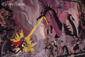 Tapestry Philip battling Dragon Maleficent, Disneyland Paris Castle