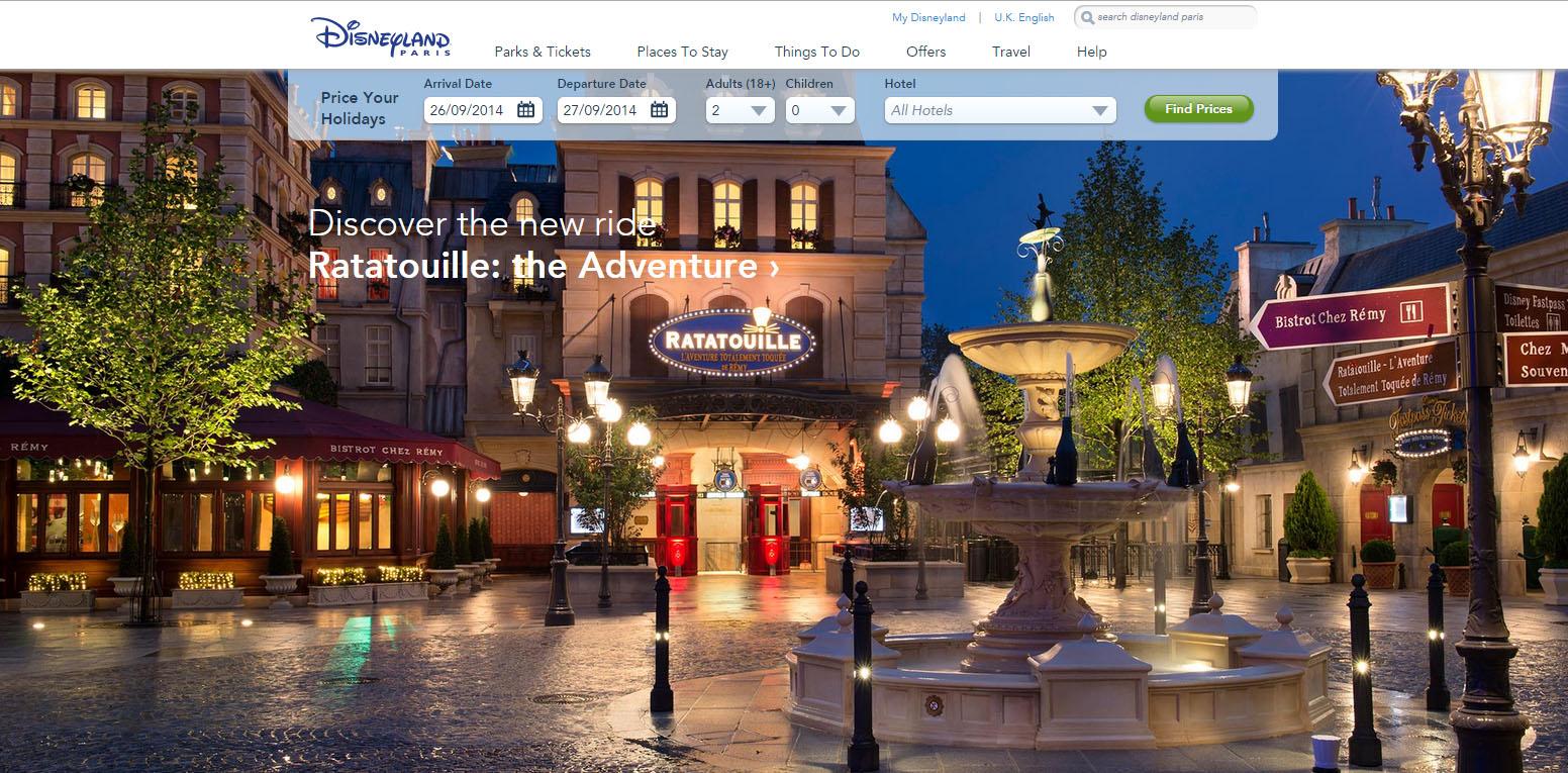 Disneyland Paris Website Home Page