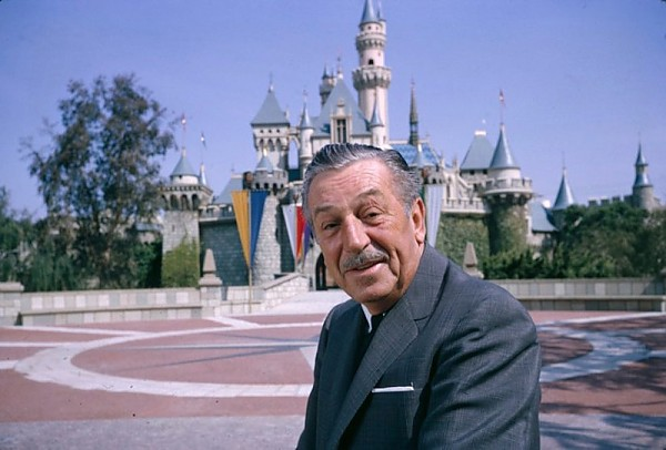 Walt Disney outside his Sleeping Beauty Castle