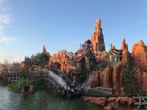 The splashdown on the newly reopening Big Thunder Mountain at Disneyland Paris