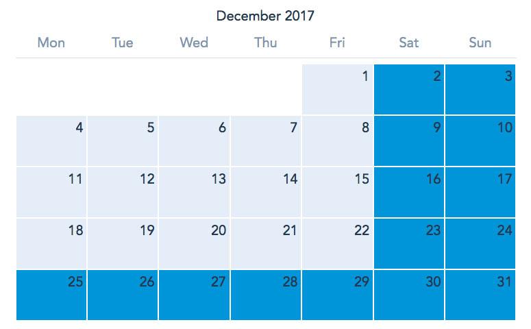 Disneyland Paris December 2017 Ticket Calendar