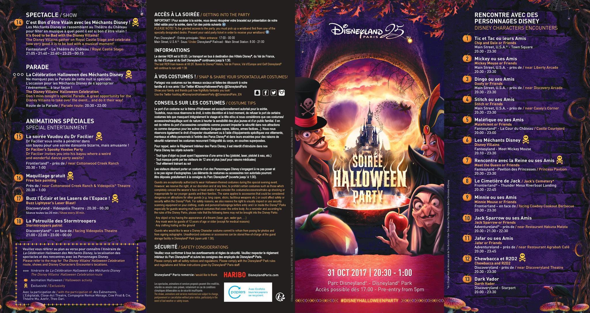 Disneyland Paris Halloween Soirée Programme 2017