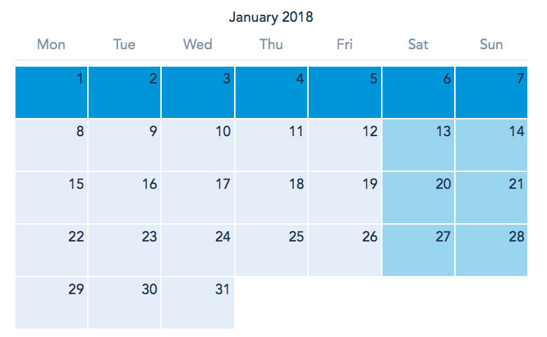 Disneyland Paris January 2018 Ticket Calendar