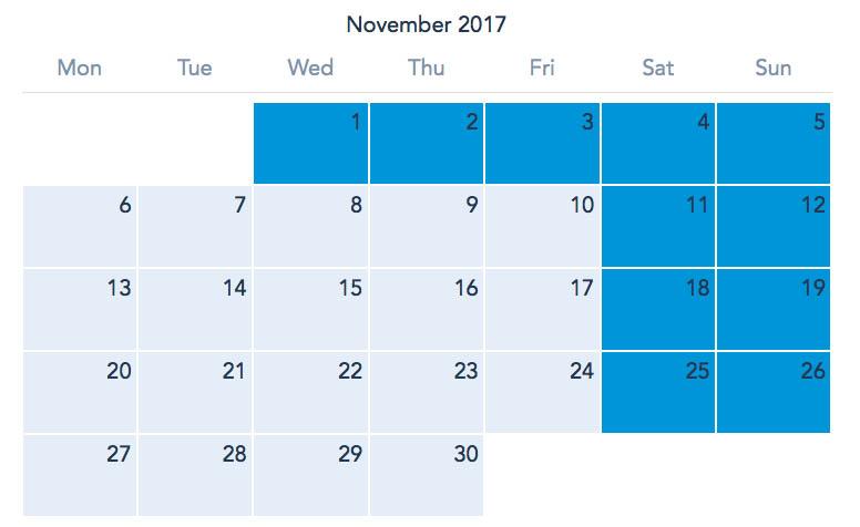 Disneyland Paris November 2017 Ticket Calendar