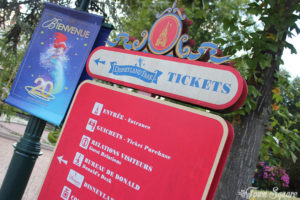 Sign for Tickets in Fantasia Gardens at Disneyland Paris