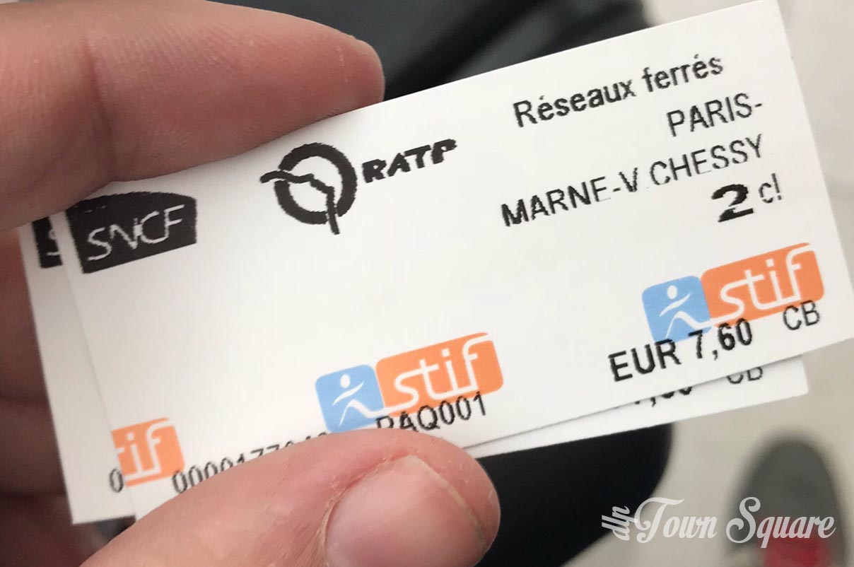 RER ticket from Paris Gare du Nord to Disneyland Paris