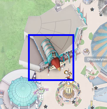 A map for Café Hyperion in Disneyland Paris