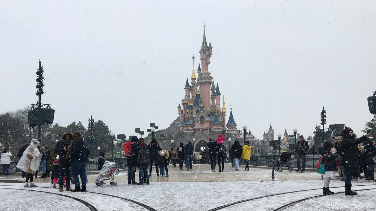 Sleeping Beauty Castle in Disneyland Paris in the snow
