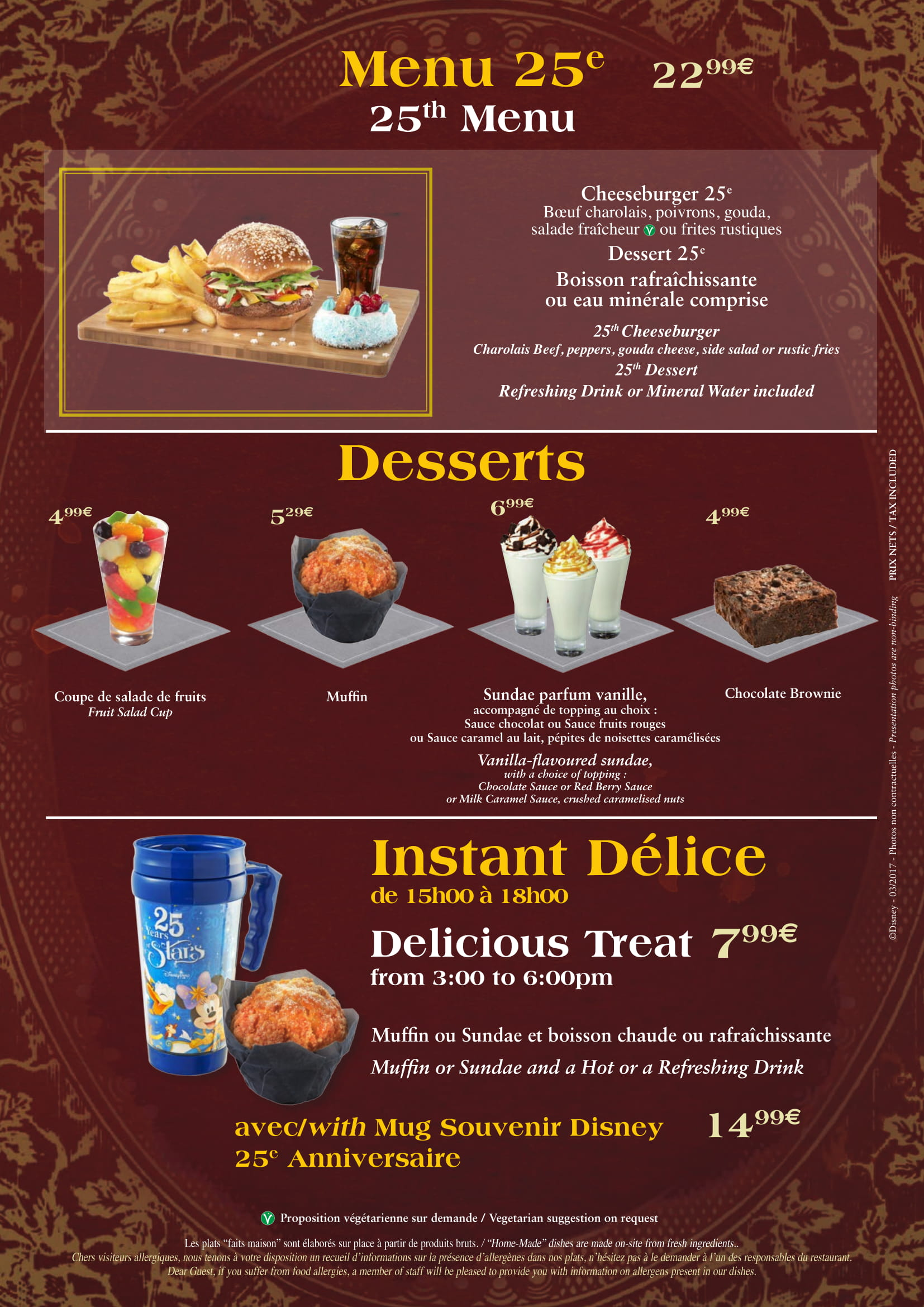 The Lucky Nugget Saloon at DIsneyland Paris Menu - Deserts
