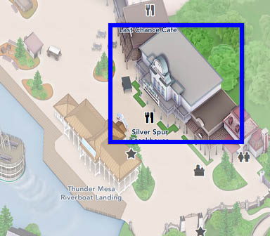 A map to the Silver Spur Steakhouse in Disneyland Paris